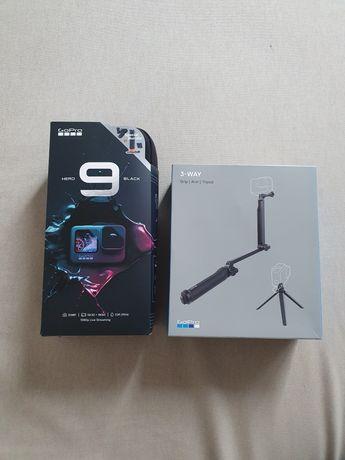 Kamera GoPro Hero 9 Black + 3-WAY (grip, arm, tripod)