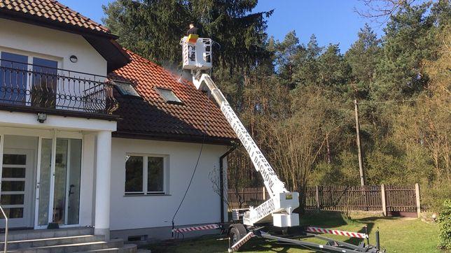 Mycie elewacji, dachu i kostki brukowej WYNAJEM PODNOŚNIK KOSZOWY 30m