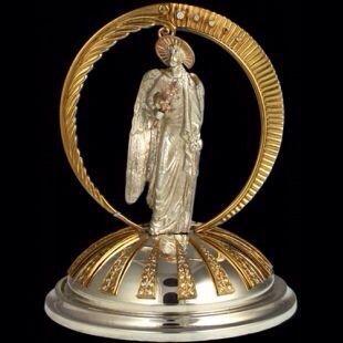 """Серебро скульптура """"Ангел-Хранитель"""" (золото,фианиты,серебро)"""