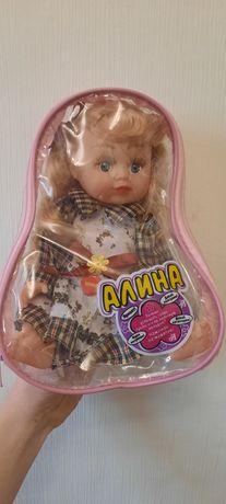 Кукла в рюкзаке Алина, пупс говорящий