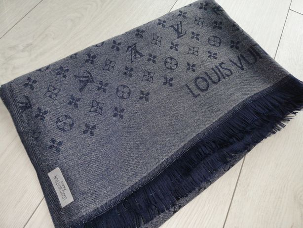 Piękny szal chusta Louis Vuitton monogram grafit granat jedwab kaszmir