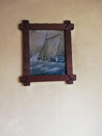 Dwa  obrazy oprawa drewniana