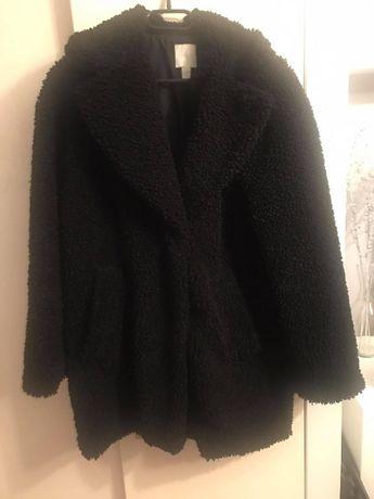 płaszcz,kurtka,futrzak,futerko,czarne,xs,h&m