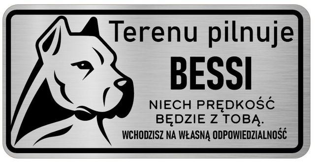 Uwaga Pies Tabliczka nierdzewna Dogo Argentino z imieniem psa