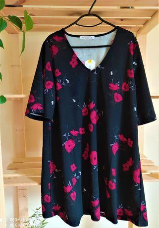 Czarna sukienka w kwiaty- maki:) nowa