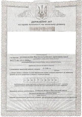 Участок дачный Велика Снитынка Фастовский р-н