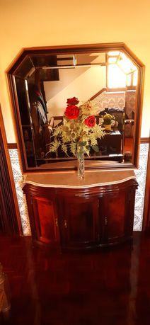 Sapateira mogno com espelho