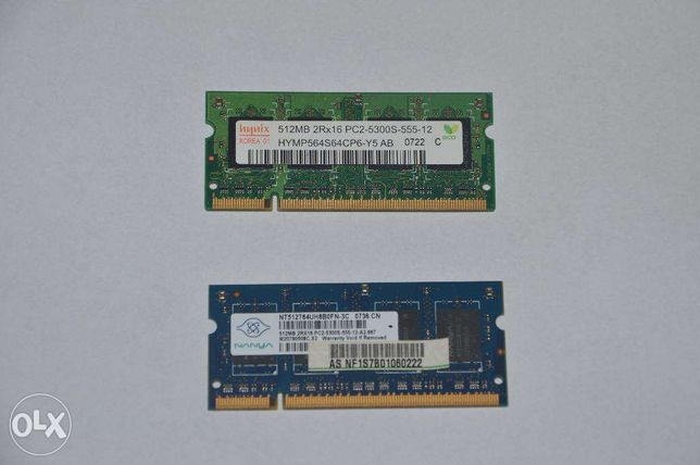 Оперативная память DDR2 PC2 - 5300 и PC2 - 6400 (512mb)