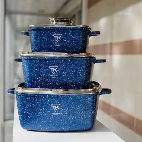 Набір посуду виготовлений з алюмінію з мармуровим покриттям