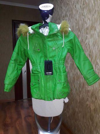 Куртка на девочку кожаная демисезонная новая с нюансом