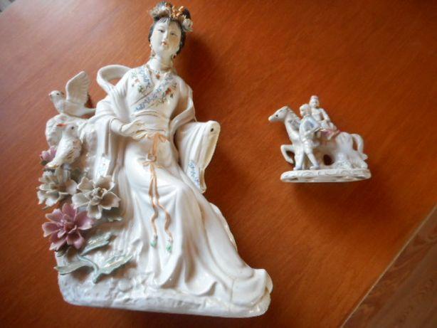 Porcelana panna azjatka pani na koniu chinka japonka figurka figura