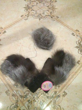 Рукавички, варежки, мех натуральный лисица, чернобурка + балабон