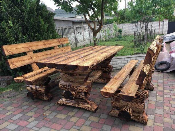 Стол и 2 Лавки из масива дерева (сосна) сруб/бревно