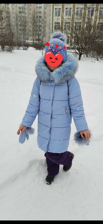 Зимний пуховик X-woyz для девочки 134р. (голубой)