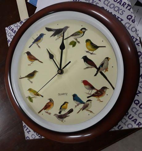 Relógio parede com pássaros e sons - Novo