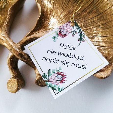 Zawieszki na alkohol weselny z egzotycznym kwiatem srebrnika PUDROWY R
