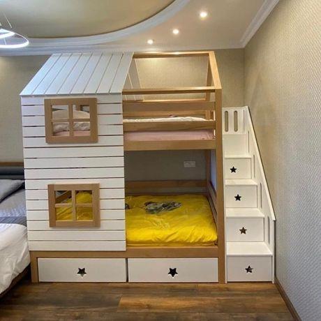 Двухъярусная кровать. Кровать чердак. Краватка-домик
