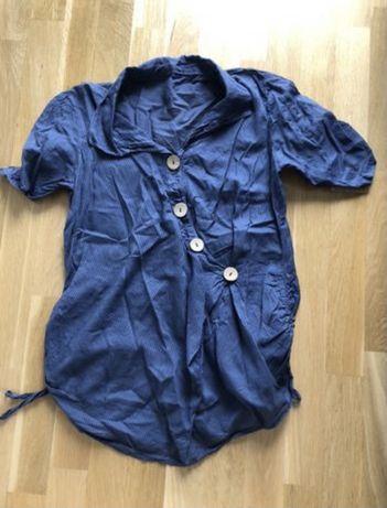 Bluzka koszula ciążowa M niebieska przewiewna