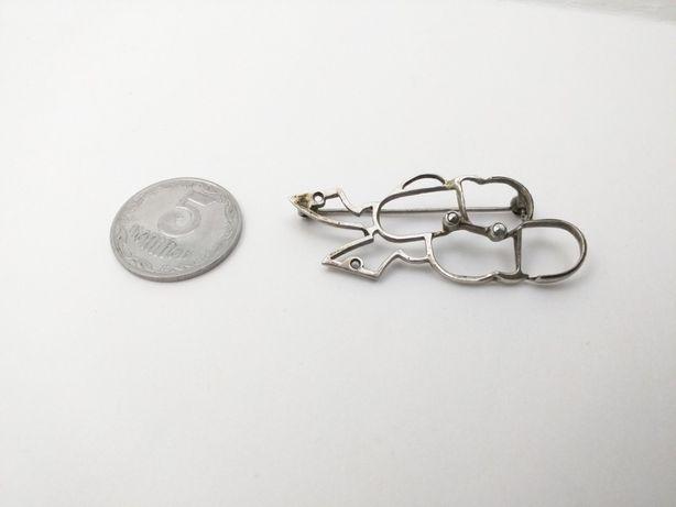 Редкая старинная брошь, серебро, Англия, черепаха.