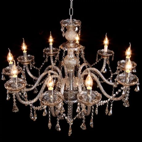 ŻYRANDOL kryształowy 10-RAMIENNY! Wisząca lampa średnica 90cm OGROMNA!