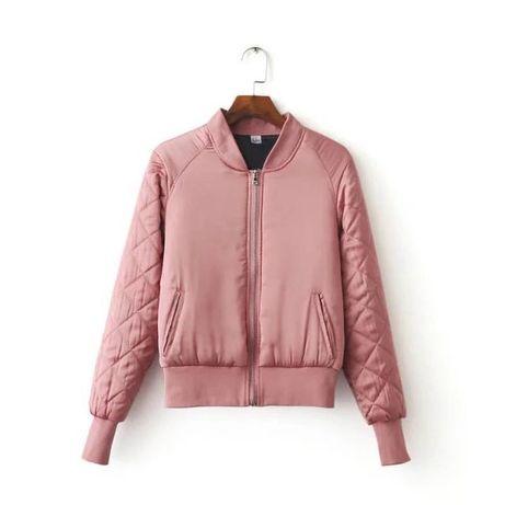 Крутой бомбер пепельно розовый стеганые рукава H&M
