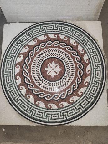 Мраморное панно, мозаика №1 Диаметр 1000 мм Мрамор