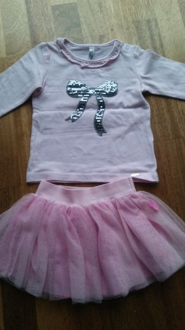 Bluzka różowa, sweterek i spódnica 80