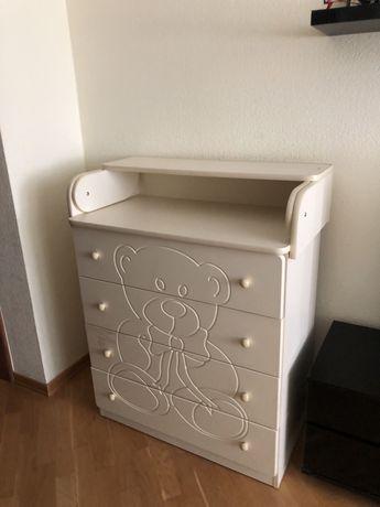 Детский комод пеленальный стол мишка цвет бежевый