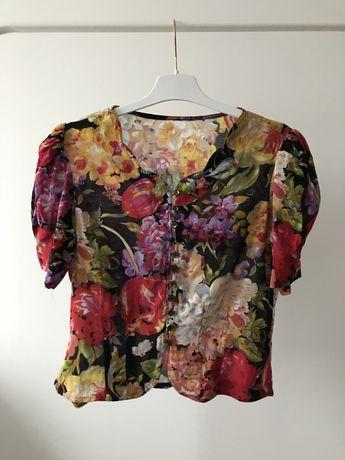Bluzka w kwiaty vintage bufki na lato guziczki bluzeczka unikat