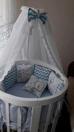 Кроватка овальна трансформер + матрас у подарунок