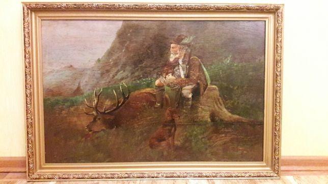 Картина Охотник, масло на дереве