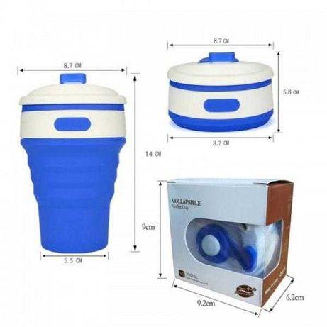 Стакан складаний силіконовий з кришкою 350 мл , Чашка, склянка