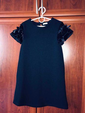 Школьная форма, осеннее платье, сарафан, юбка синего цвета (128-134)