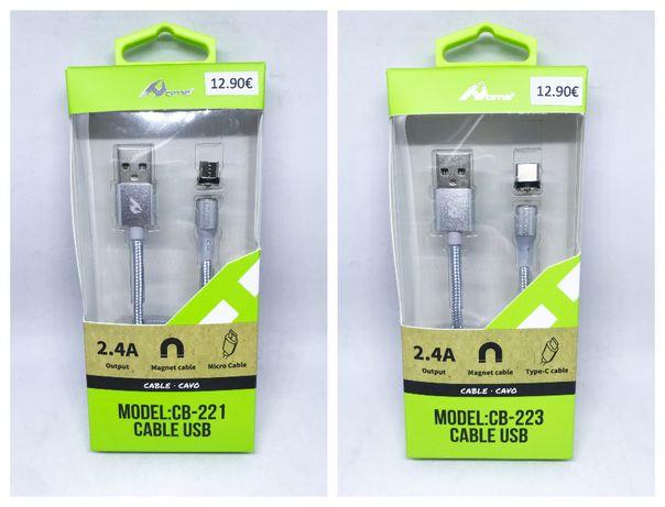 Cabo carregador Magnético Micro USB / Cabo carregador magnético Type-C