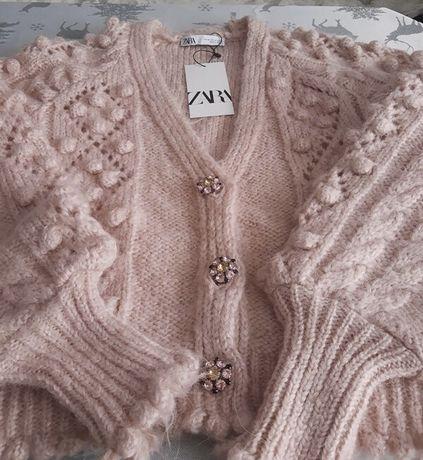 Sweterek pudrowo rozowy piekny uroczy alpaka M nowy zara