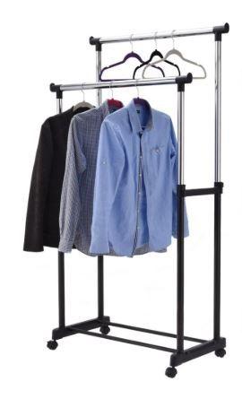 Podwójny lekki składany stojak na ubrania