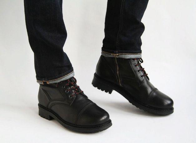 ботинки теплые кожаные с мехом Zign (Portugal), молния сбоку