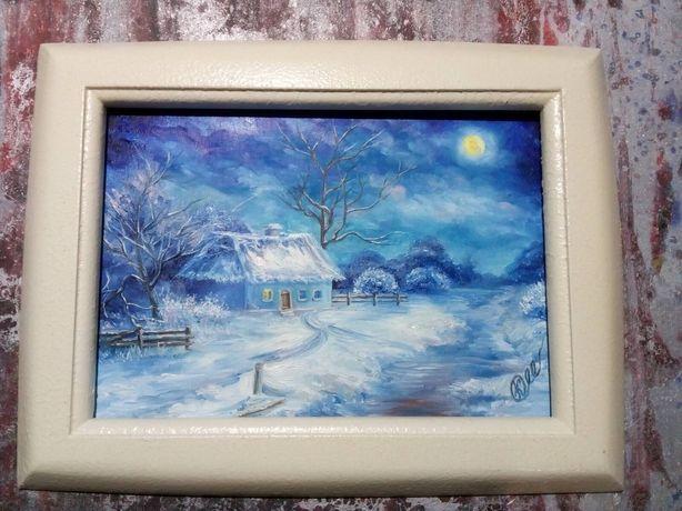 """Картина маслом """"Зимовий вечір"""""""