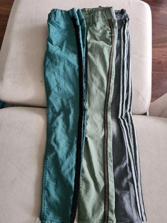 3 pary spodni, jeansy  z lampasem