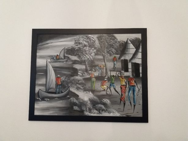 quadros / telas pintadas à mão por artista Moçambicano