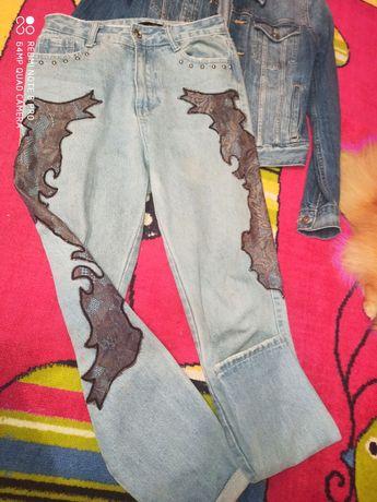 Фирменные джинсы бойфренды пиджак куртка S