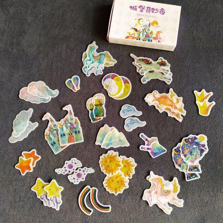 Набор наклеек- сказка, единороги, драконы, радуга