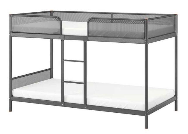 Estrutura beliche, cinzento 90x200 cm com 2 colchões