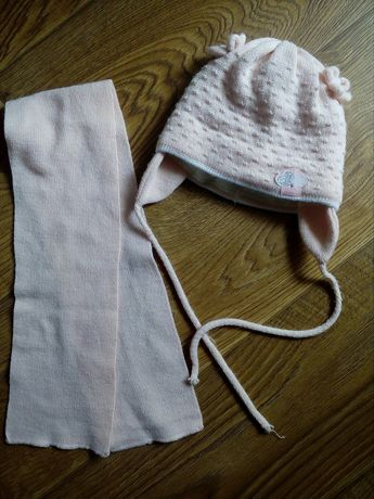Шапка на дівчинку шапочка + шарф зимовий набір