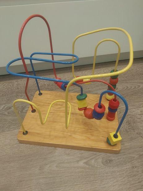 Drewniana zabawka edukacyjna manualna dla dzieci przekładanka koraliki