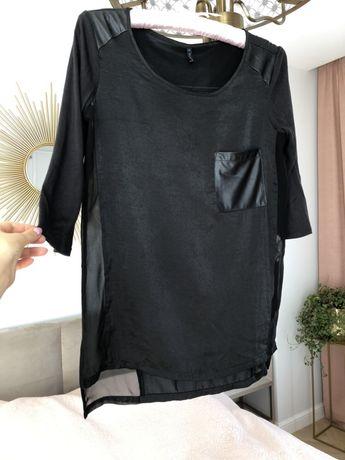 Bluzka Bershka skóra kieszeń koszula czarna tiul