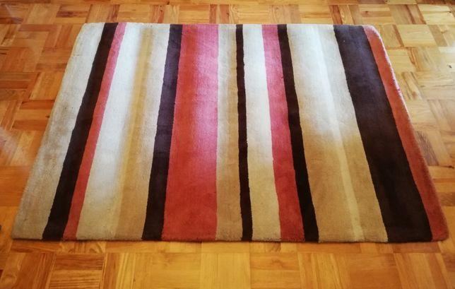 Tapete de Lã, 200x140, às Riscas Castanho, Vermelho e Creme