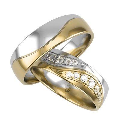 Złote obrączki złote z diamentami złoto białe łączone z żółtym 585 14K