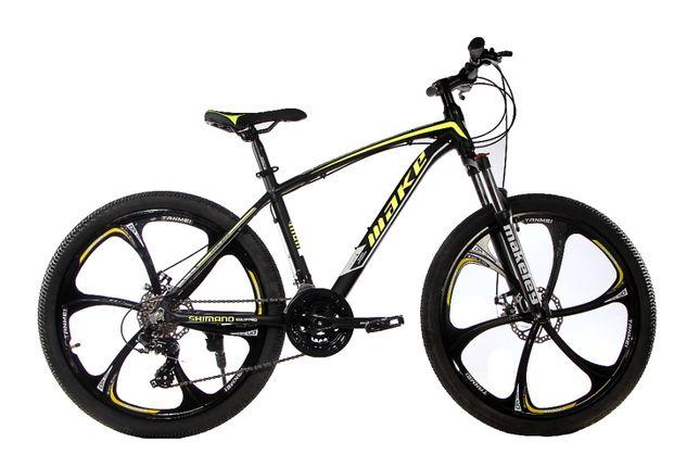 """Алюминиевый велосипед на литых дисках МАКЕ 26"""" рама 17"""" черно-желтый"""