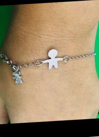 Италия серебряный браслет Мальчик Девочка стразы Swarovski подарок